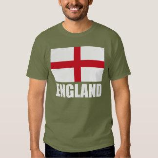 Bandeira do texto do branco de Inglaterra Tshirts
