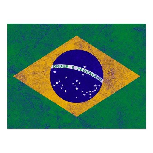 Bandeira do vintage de Brasil Cartão Postal