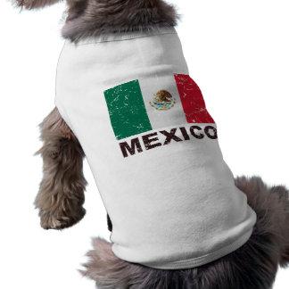 Bandeira do vintage de México Camisa Sem Mangas Para Cachorro