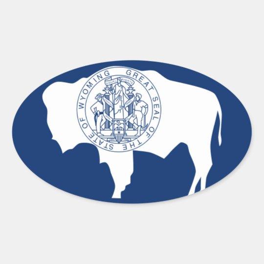 Bandeira do Wyoming Adesivo Oval