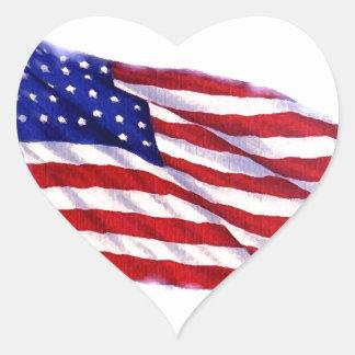 Bandeira dos E.U. Adesivo Coração