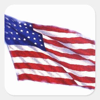 Bandeira dos E.U. Adesivo Quadrado