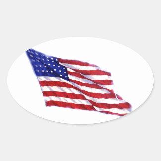 Bandeira dos E U Adesivos Oval