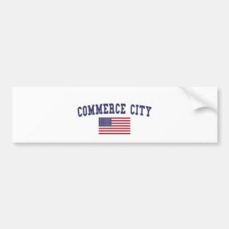 Bandeira dos E.U. da cidade do comércio Adesivo Para Carro