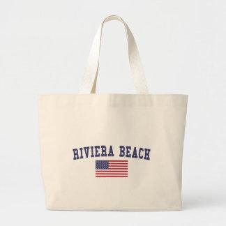 Bandeira dos E.U. da praia de Riviera Sacola Tote Jumbo