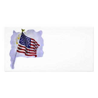 Bandeira dos E.U. do vintage em cores patrióticas Cartão Com Foto
