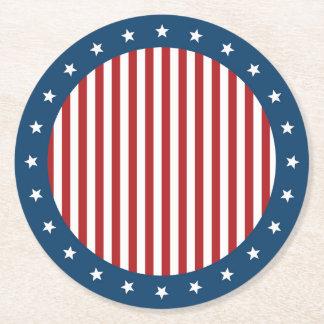 Bandeira dos Estados Unidos branca e azul vermelha Porta-copo De Papel Redondo