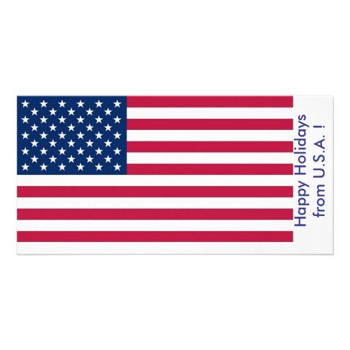 Bandeira dos EUA, boas festas dos EUA Cartoes Com Fotos Personalizados