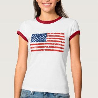 Bandeira dos EUA da mancha T-shirt