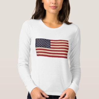 Bandeira dos EUA do vintage T-shirt