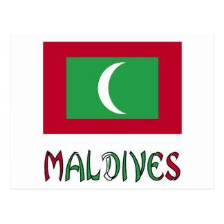 Bandeira e Maldives maldivos Cartão Postal
