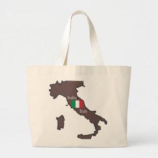 Bandeira e mapa de Italia Sacola Tote Jumbo