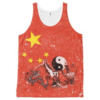 Bandeira e símbolos de China ID158 Regata Com Estampa Completa