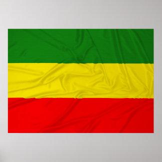 Bandeira enrugada de Rastafarian Poster