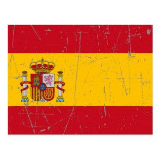 Bandeira espanhola arrastada e riscada cartao postal