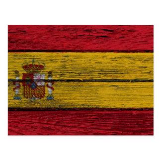 Bandeira espanhola com efeito de madeira áspero da cartão postal