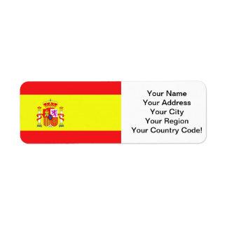 Bandeira espanhola etiqueta endereço de retorno