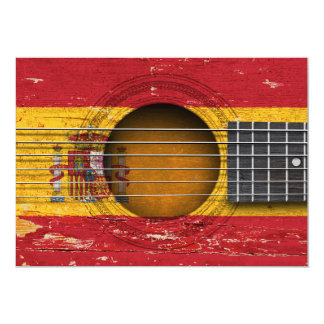 Bandeira espanhola na guitarra acústica velha convite personalizado
