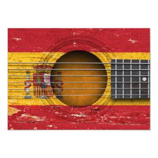 Bandeira espanhola na guitarra acústica velha convite 12.7 x 17.78cm