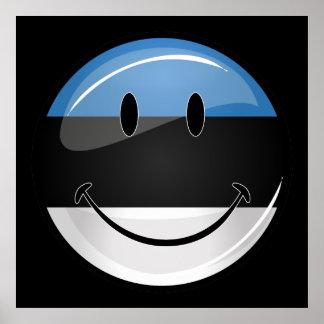Bandeira estónia de sorriso poster