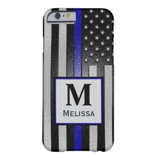 Bandeira fina gravada monograma de Blue Line Capa Barely There Para iPhone 6