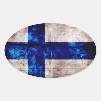 Bandeira finlandesa adesivo oval