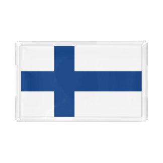 Bandeira finlandesa na bandeja do serviço
