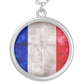 Bandeira francesa colar com pendente redondo