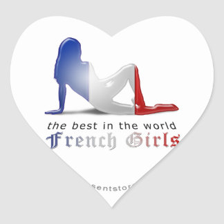 Bandeira francesa da silhueta da menina adesivo coração