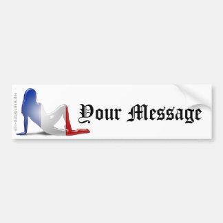 Bandeira francesa da silhueta da menina adesivo