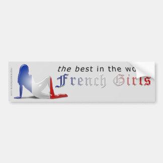 Bandeira francesa da silhueta da menina adesivo para carro