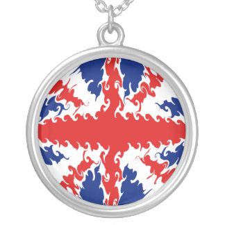 Bandeira Gnarly BRITÂNICA Colar Com Pendente Redondo