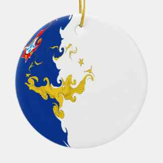 Bandeira Gnarly de Açores Ornamento De Cerâmica Redondo