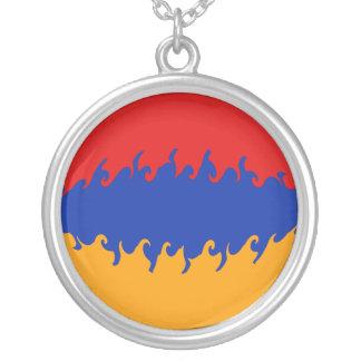 Bandeira Gnarly de Arménia Colar Com Pendente Redondo