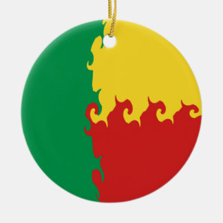 Bandeira Gnarly de Benin Ornamento De Cerâmica Redondo