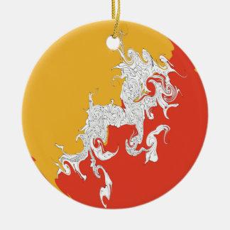 Bandeira Gnarly de Bhutan Ornamento De Cerâmica Redondo