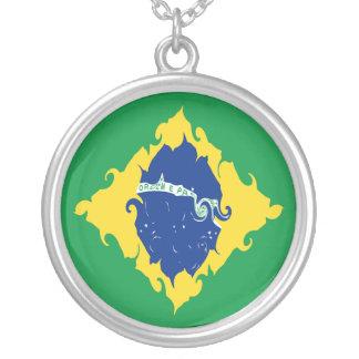 Bandeira Gnarly de Brasil Colar Com Pendente Redondo
