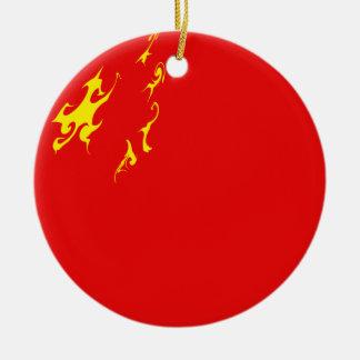 Bandeira Gnarly de China Ornamento De Cerâmica Redondo