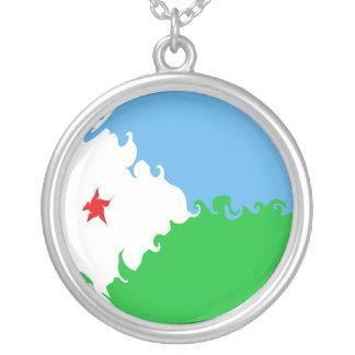 Bandeira Gnarly de Djibouti Colar Com Pendente Redondo