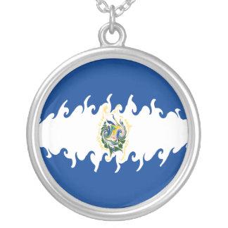 Bandeira Gnarly de El Salvador Colar Com Pendente Redondo