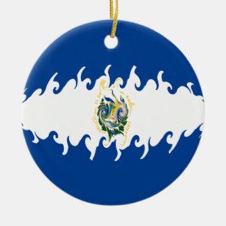 Bandeira Gnarly de El Salvador Enfeites De Natal