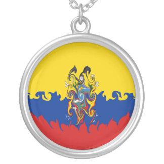 Bandeira Gnarly de Equador Colar Com Pendente Redondo