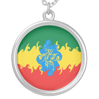 Bandeira Gnarly de Etiópia Colar Banhado A Prata