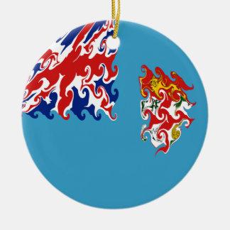 Bandeira Gnarly de Fiji Ornamento De Cerâmica Redondo