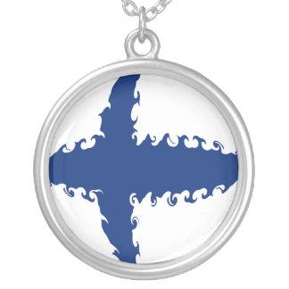 Bandeira Gnarly de Finlandia Colar Com Pendente Redondo