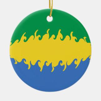 Bandeira Gnarly de Gabon Ornamento De Cerâmica Redondo