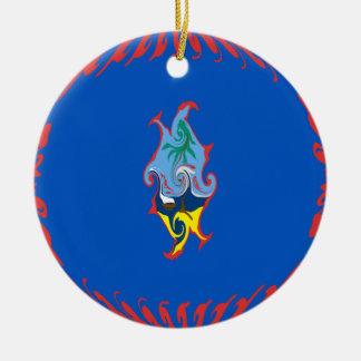 Bandeira Gnarly de Guam Ornamento De Cerâmica Redondo
