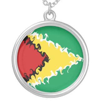 Bandeira Gnarly de Guyana Colar Banhado A Prata