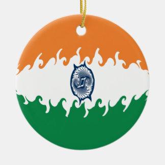 Bandeira Gnarly de India Ornamento De Cerâmica Redondo