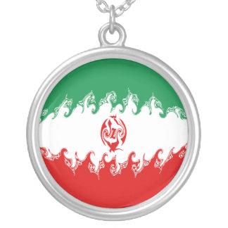 Bandeira Gnarly de Irã Colar Com Pendente Redondo